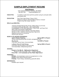 resume vitae sample curriculum vitae for employment
