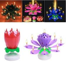 Birthday Music Candle Lotus Double Rotating Music Candle - Vova