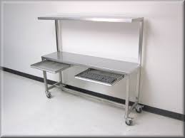 stainless kitchen work table: stainless steel table with upper shelf stainless steel work bench