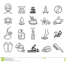massage spa therapy wellness aromatherapy icon royalty stock spa massage therapy cosmetics icons royalty stock images
