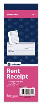 rent receipt part tear off stub x bk