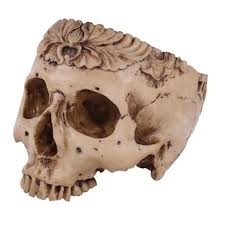 Resin <b>Skull</b> Head Shped Flower Pot <b>Halloween Scene Decoration</b> ...