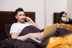 home office in your bed royalty free stock photography bedroom home office view