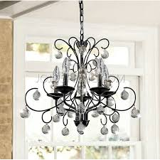 messina 5 light wrought iron and crystal chandelier b713 bw 32 black crystal chandelier lighting