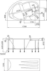 <b>Акриловая ванна 1MarKa Diana</b> L 170x105, с каркасом купить в ...