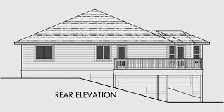 Side Sloping Lot House Plans  Walkout Basement House Plans  House rear elevation view for Side Sloping Lot House Plans  walkout basement house plans