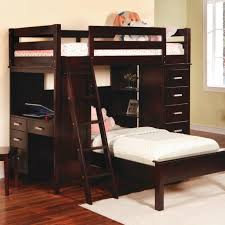 dark brown stained oak wood bunk bed with ladder and dresser built in small computer desk childrens bunk bed desk full