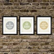 set of 3 prints be awesome today make your own luck do good cheap office decorations
