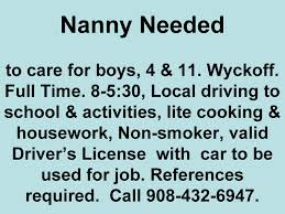 nanny needed northjersey com check out this flyer