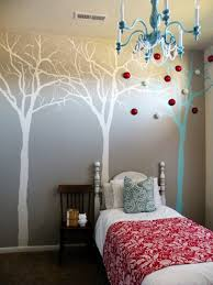 Tree Wall Mural Ideas In Small Bedroom With Blue Throw Pillow - Bedroom wall murals ideas