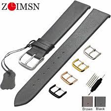 <b>ZLIMSN Genuine Leather</b> Watchbands 18 20 22mm Thin <b>Smooth</b> ...