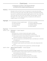 culinary resume examples culinary sample resumes livecareer bartender resume