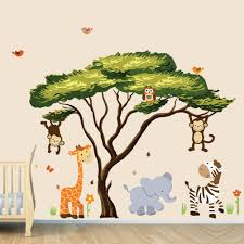 palm tree wall stickers: african tree with jungle animals wall decal wall stickers repositionable fabric african tree safari sunset