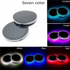 <b>2Pcs LED Car</b> Cup Holder Mat <b>Auto</b> Interior Atmosphere RGB ...