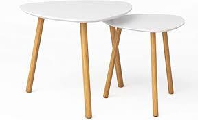 BAMEOS <b>Bamboo</b> Nesting Triangle End Table,<b>Set of 2</b> Coffee Table ...