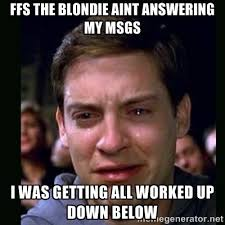 FFS The blondie aint answering my msgs i was getting all worked up ... via Relatably.com