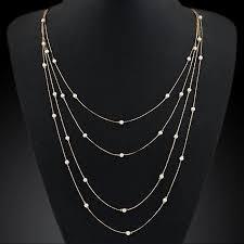 Simple <b>Fashion Bohemian</b> Pearl Color <b>Double Chain</b> Beads Long ...