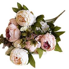 Buy Dwayne C <b>Artificial Peony Flowers</b> Fake <b>Silk Flowers</b> for Bridal ...