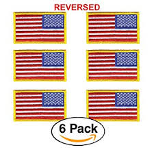 6 Pack – REVERSED American Flag <b>Embroidered Patch</b>, Gold ...