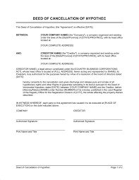 deed of cancellation of hypothec business agreement sample letter