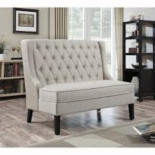 tufted dining bench with back light grey upholstered dining bench with black stained wood leg combined brown carpet on wooden floor