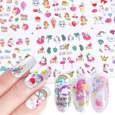 <b>12pcs Water Nail Stickers</b> Flamingo Cute Cartoon Design <b>Water</b> ...