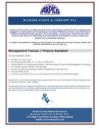 management trainee finance assistant a that matters description