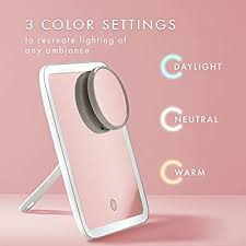 Fancii <b>Portable LED Lighted Makeup</b> Mirror with 3 Color Temp ...