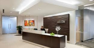 good office reception area design with chocolate brown desk and white gypsum ceiling ideas chic office design