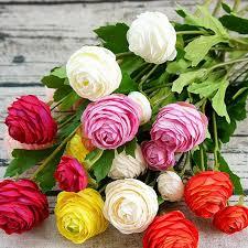 <b>1PCS</b> 3Heads Small <b>Artificial Ranunculus</b> Asiaticus rose fake ...