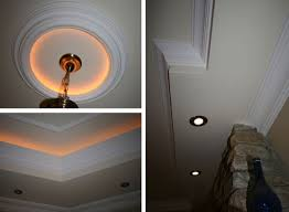 left top and bottom ceiling rose and cornicing with embedded ambient lighting right boxed downlighting ceiling ambient lighting