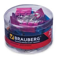 <b>Зажимы для бумаг Brauberg</b> 32 мм, 24 шт/уп, на 140 л, цвет ...