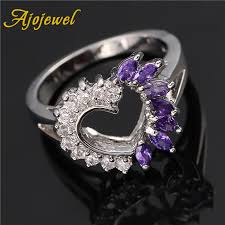<b>Ajojewel</b> Purple Red <b>Cubic Zirconia</b> Sparkling Heart Ring Women ...