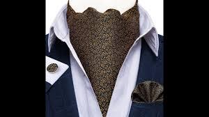 Luxury <b>men vintage</b> black <b>gold</b> silk ascot tie set man cravat ties ...
