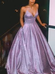 Sparkly <b>Ball Gown</b> V Neck Open Back <b>Lavender</b> Sequins Long <b>Prom</b> ...