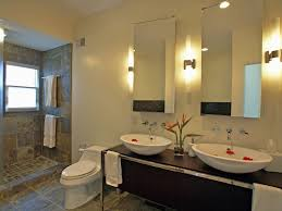 cool bathroom lighting fixtures in contemporary bathroom completed by vanity with double bowl sink and dual bathroom mirror lighting fixtures