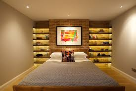 turn the accent brick wall in the bedroom into a sparkling architectural feature design bedroom accent lighting surrounding