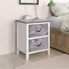 vidaXL <b>Nightstand 2 pcs with</b> 2 Drawers Grey and White 242041 ...
