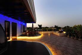 rope light outdoor patio design by metro interior designer yogesh wadhwana backyard string lighting ideas