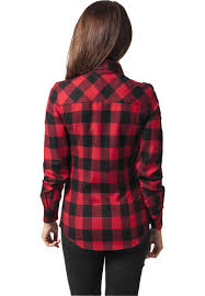 <b>Рубашка URBAN CLASSICS Ladies</b> Checked Flanell Shirt Black/Red