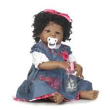 <b>22inch</b> 57cm npk silicone cotton body curly hair <b>baby reborn</b> black ...