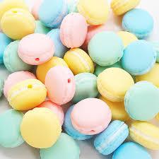 <b>Chenkai</b> 10PCS BPA Free Macaron <b>Silicone</b> Teethers Beads ...
