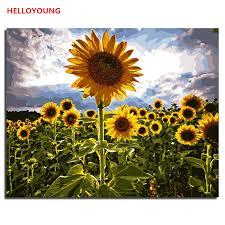 HELLOYOUNG <b>DIY</b> Handpainted Oil <b>Painting</b> Proud sunflower ...