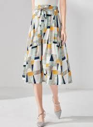 Geometric Print <b>High Waist Bowknot</b> A Line Skirt | Saias, Camisetas