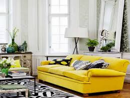 Yellow Living Room Decorating Living Room White Pendant Lights White Futons Gray Rug Gray Sofa