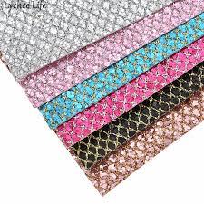 <b>Lychee Life</b> 29x21cm <b>Grid</b> Glitter Synthetic Leather Fabric <b>A4</b> PU ...