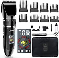 Professional <b>Cordless Hair</b> Clippers with <b>LCD</b> Colour Display ...