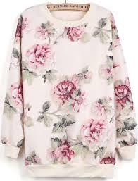 Apricot Long Sleeve Contrast Organza Floral Sweatshirt - Sheinside ...
