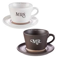 MUGS : BETTER TOGETHER MR AND MRS- <b>Two Piece Coffee</b> ...