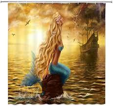 Amazon.com: LIVEFUN <b>Vintage</b> Mermaid Shower Curtain Fantasy ...